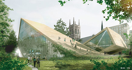 Ordinaire Danish Architecture Firm BIG, Along With Fugère Architectes, Proposed A  Sloping Green Roofed Design For The Expansion Of The The Musée National Des  ...