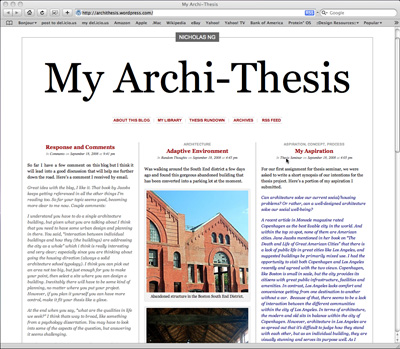 Thesis blogging