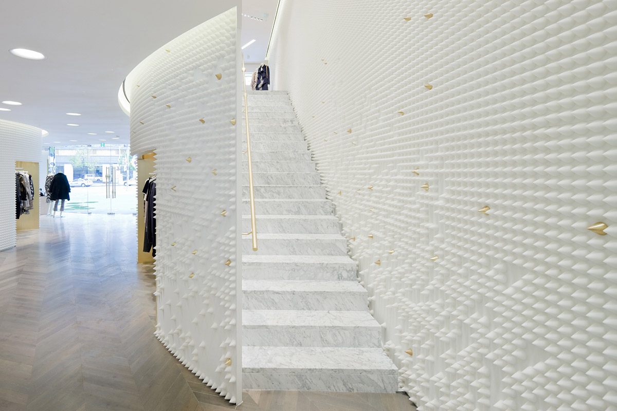 Marble Wall Stairs : Showcase phillip lim seoul flagship store features