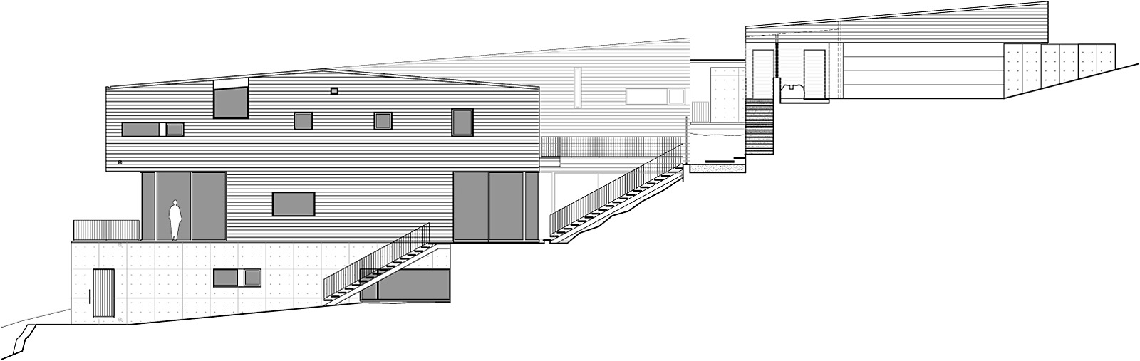 Showcase Courtyard House On A Steep Site Features